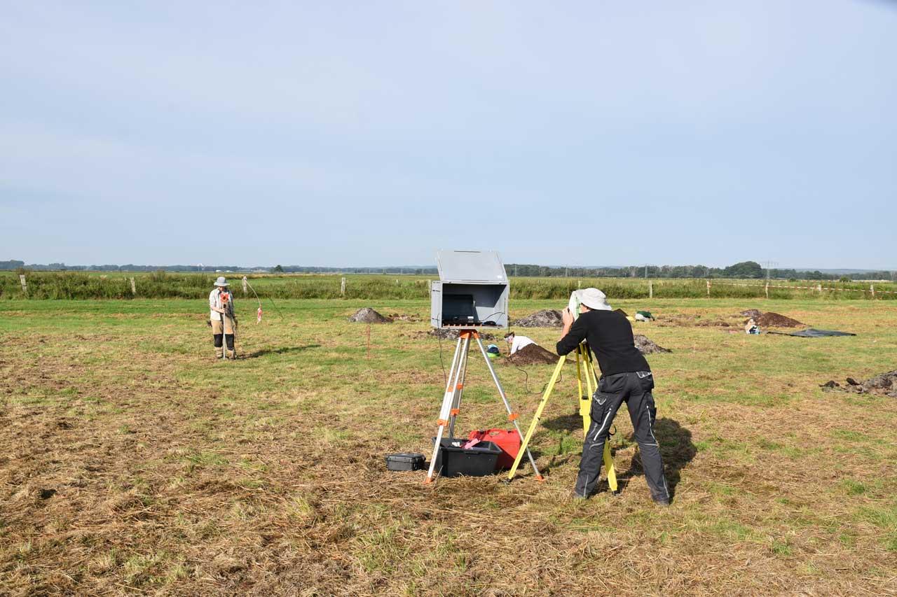 Ausgrabungsarbeiten am Fundplatz Hunte im Sommer 2020