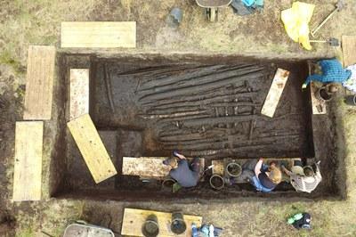 Luftbild einer Ausgrabung