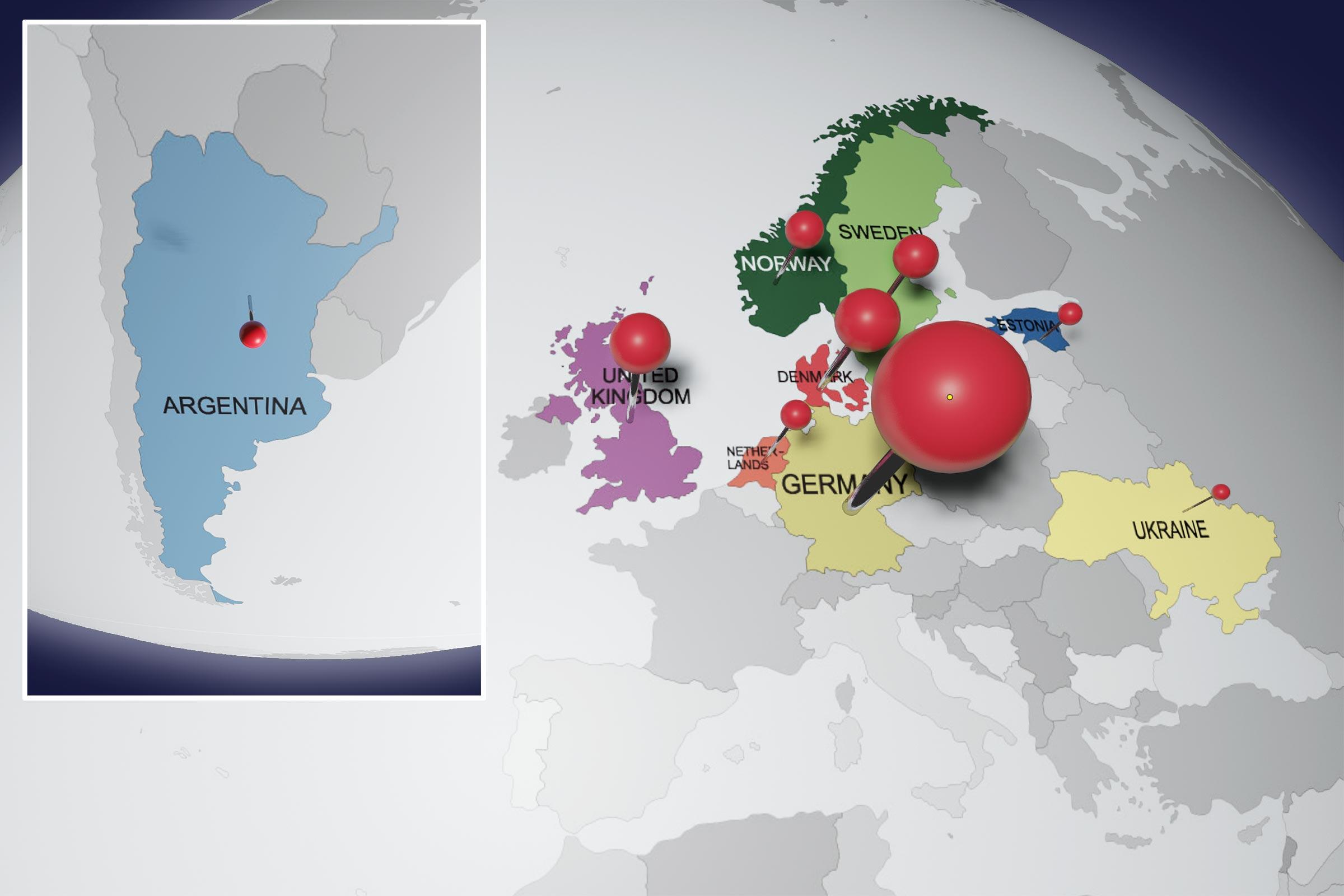 Karte Europa und Südamerika mit farbig markierten Ländern und Stecknadeln