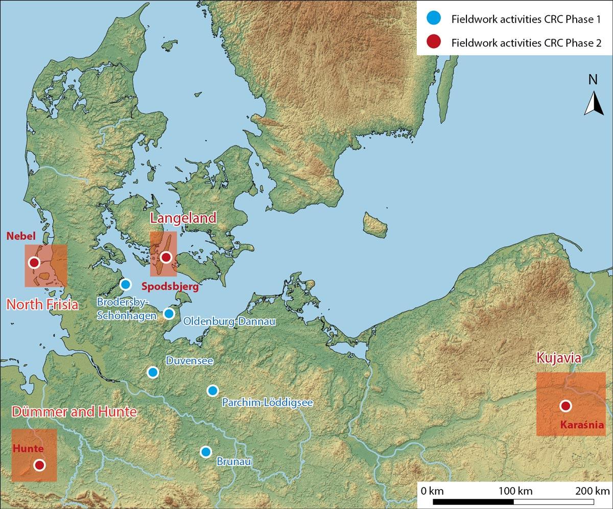 Karte westliches Baltikum mit markierten Arbeitsgebieten