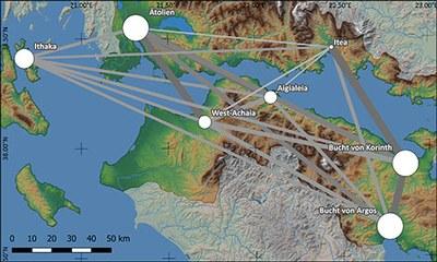 Visualisierung einer Ähnlichkeitsanalyse der mittelgeometrischen Keramik auf überregionaler Ebene