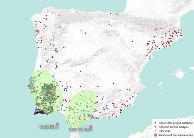 Kerngebiete und Siedlungen der archäologischen Analysen sowie die marinen Sedimentkerne, die für Umwelt und Klimarekonstruktionen genutzt werden