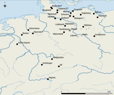 Fundorte in Norddeutschland, von denen Körner der Rispenhirse für Radiokarbondatierungen eingereicht wurden Karte: D. Filipović