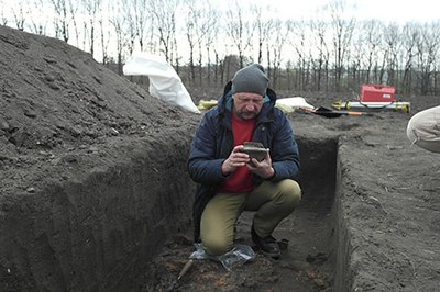 Colleagues from the Tripolye Museum Lehedzyne visiting the excavation in spring 2019