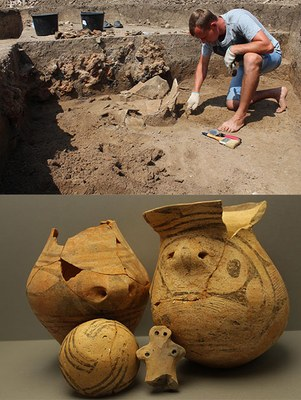 Conservator Slava Fedorov uncovering a vessel in a pit of the settlement Trostiyanchyk and restored vessels of the same settlement