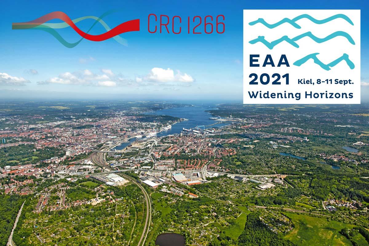 Luftaufnahme von Kiel mit CRC1266 und EAA Logos