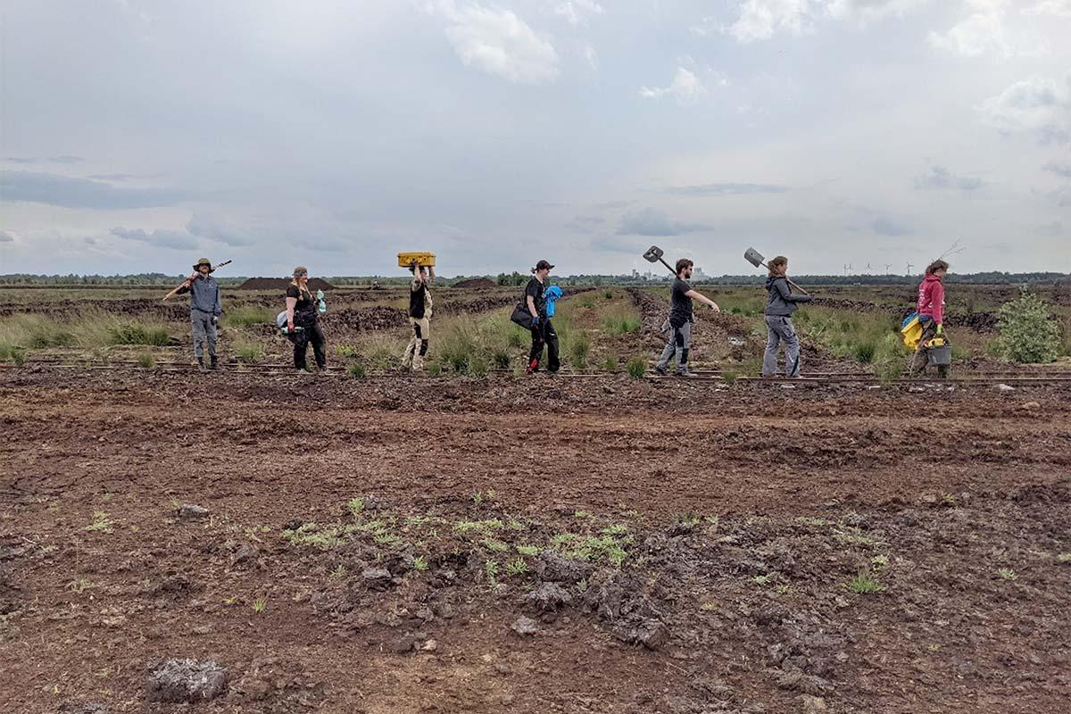 Menschen gehen im Moor mit Arbeitsgeräten