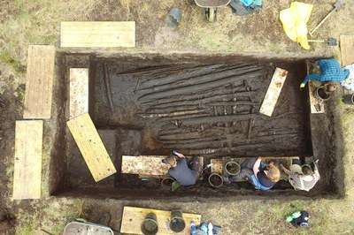 Aerial view of an excavation