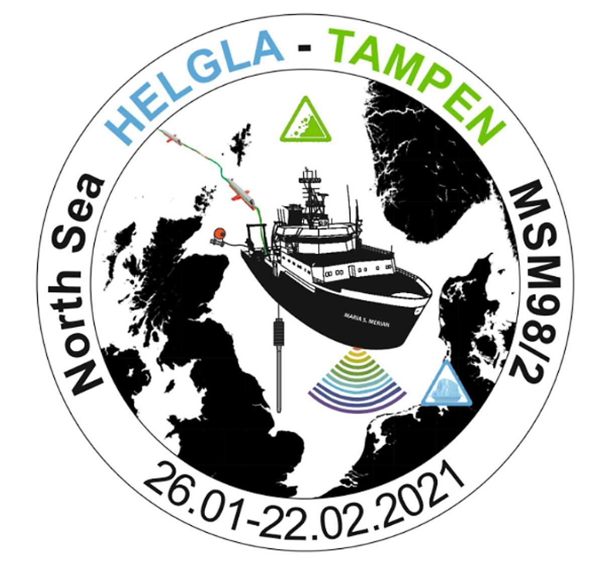 Logo mit Schiff und Karte im Hintergrund