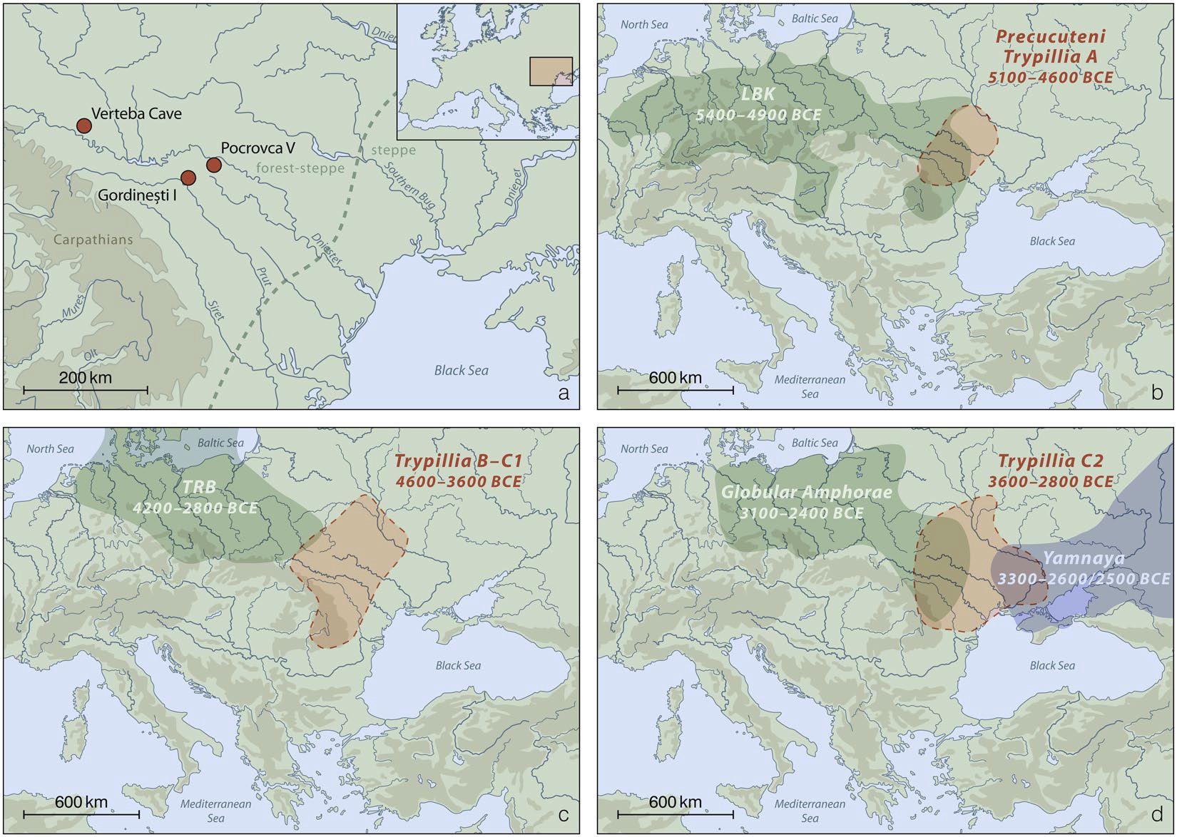 Fundplatzkarte und zeit-räumliche Ausbreitung der CTC und genannter archäologischer Gruppen