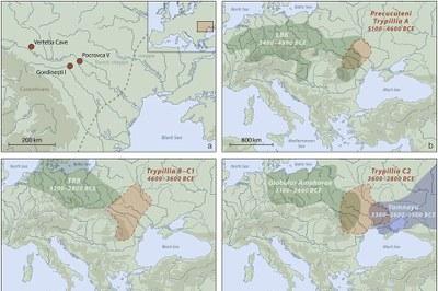 Karte der genannten Fundplätze und die raum-zeitliche Ausdehung des CTC und benannter archäologischer Gruppen