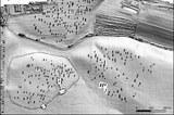 Rekonstruktion der frühneolithischen Siedlung von Vráble mit Hausstandorten und Grabenanlage