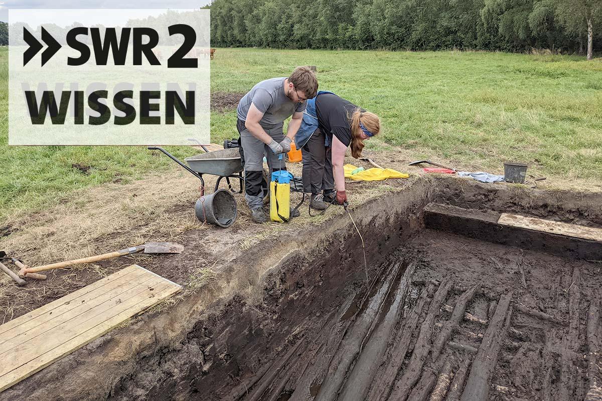 Grabung mit Menschen und Logo SWR2