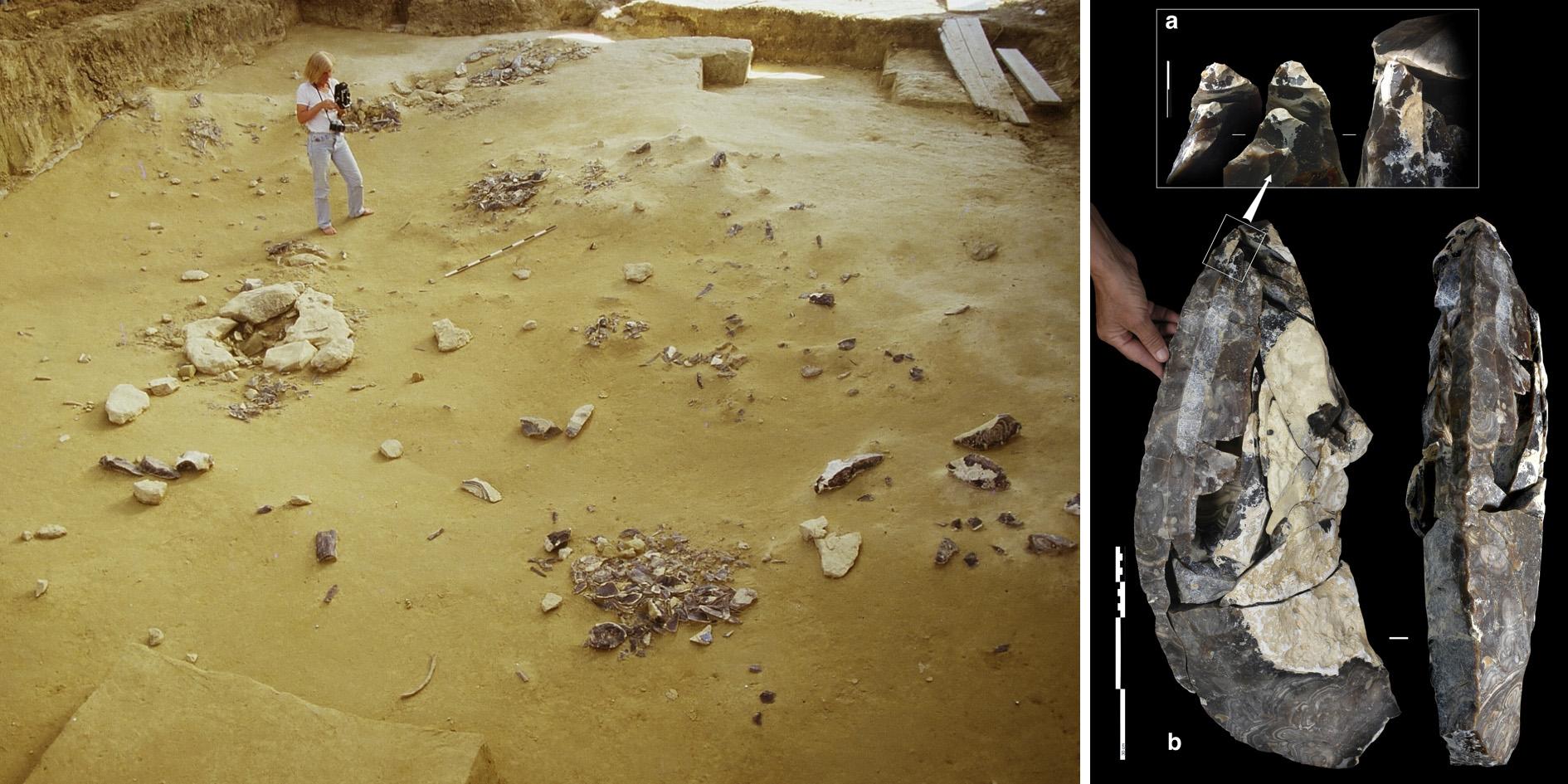 Ansicht eines Spätmagdalénien-zeitlichen Grabungsplanums am französischen Fundort Etiolles