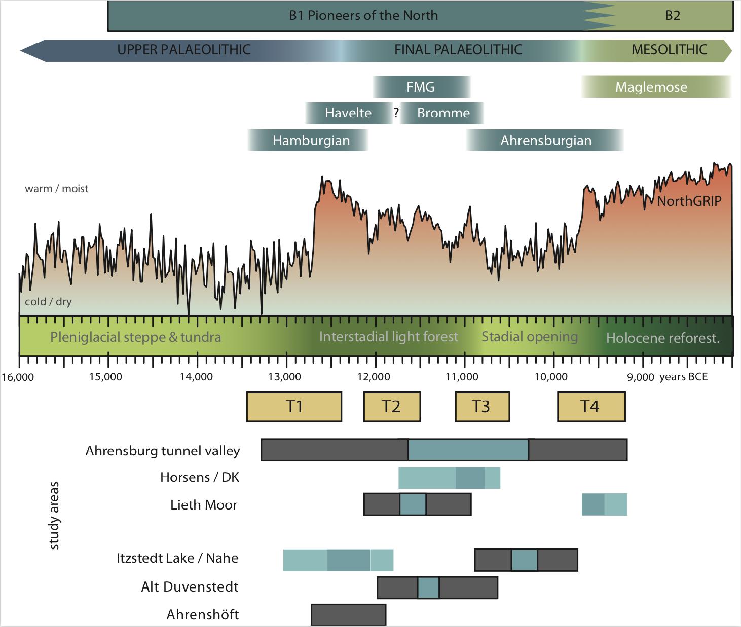 FIG2017-1 Radiokarbon (grauem) und techno-typologisch datiertes (blauem) Material in den verschiedenen Untersuchungsregionen des Teilprojekts B1 in Bezug auf die Transformationsphasen (T1-4), die ungefähre Vegetationsentwicklung, die allgemeine Klimaentwicklung des Nordatlantiks, wiedergegeben durch die Entwicklung der Sauerstoffisotopenkurve aus einem grönländischen Eiskern, und die archäologische Kulturentwicklung im südwestlichen Ostseeraum.