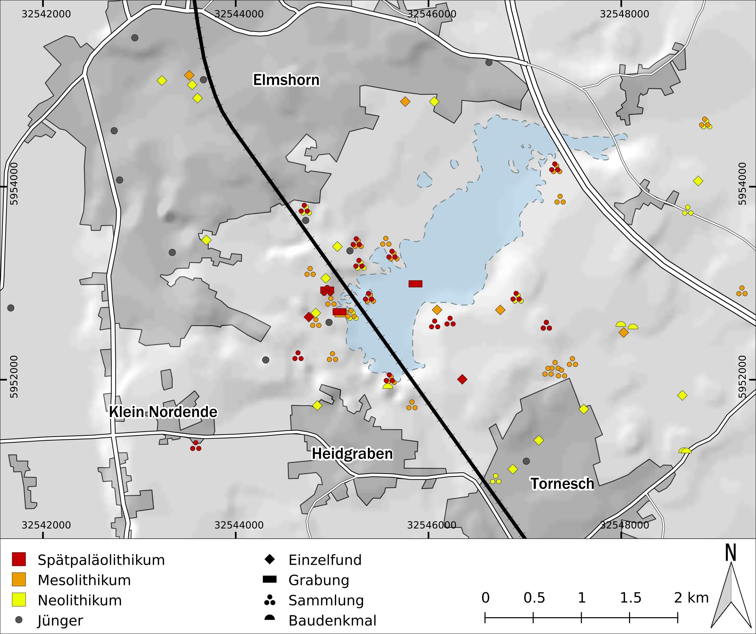 FIG2018-1 Verteilung prähistorischer und historischer Fundorte in der Region des Liether Moors in Bezug auf die mögliche Ausdehnung eines spätpleistozänen Sees (Karte: ZBSA-GIS/ B. Serbe).