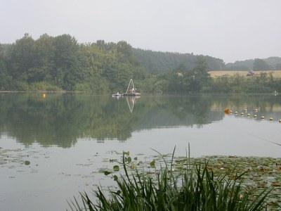 Raft with coring platform on Lake Poggensee